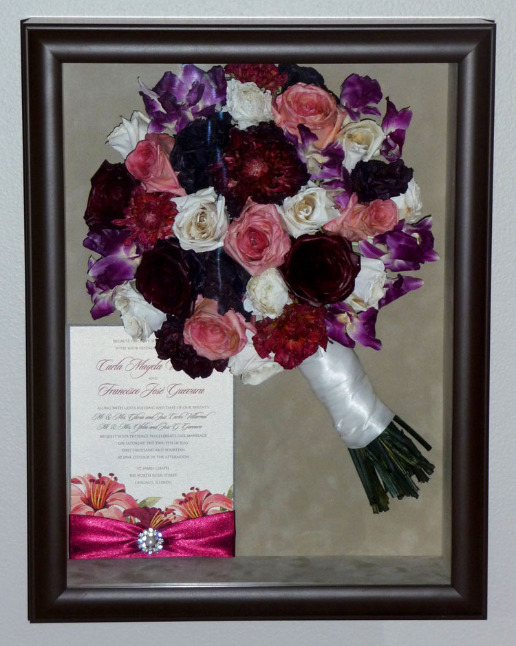 Black Shadow Box with Red and white flowers